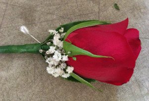 buttonhole with red rose and gypsophila