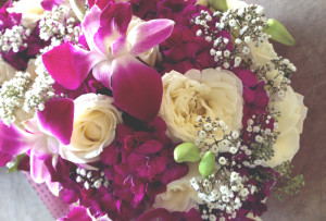 wedding bouquet, singapore orchid, gypsophila, roses, sweet williams flower
